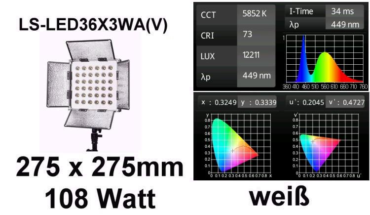 Foto Dimmbare LED Videoleuchte 108 Watt für Foto und Video - flimmerfei - LED36X3WA