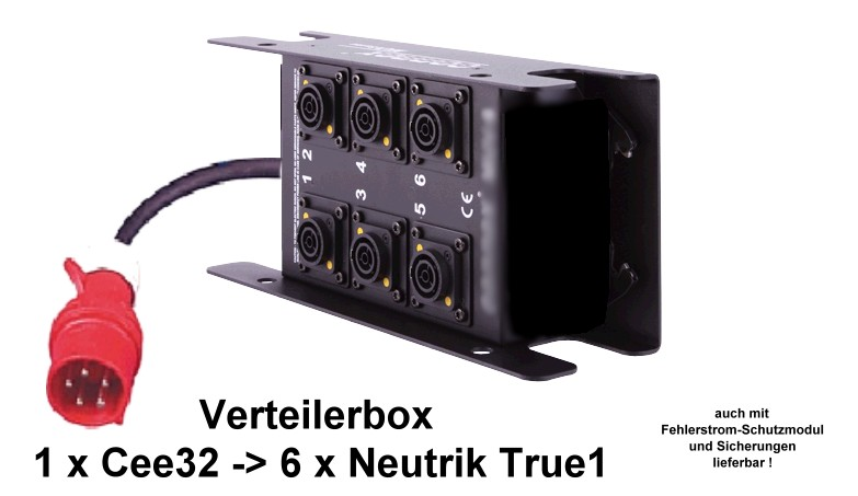 Foto LED-WALL Stromverteiler CEE32 - 6 x Neutrik TRUE1 - 6  Sicherungen