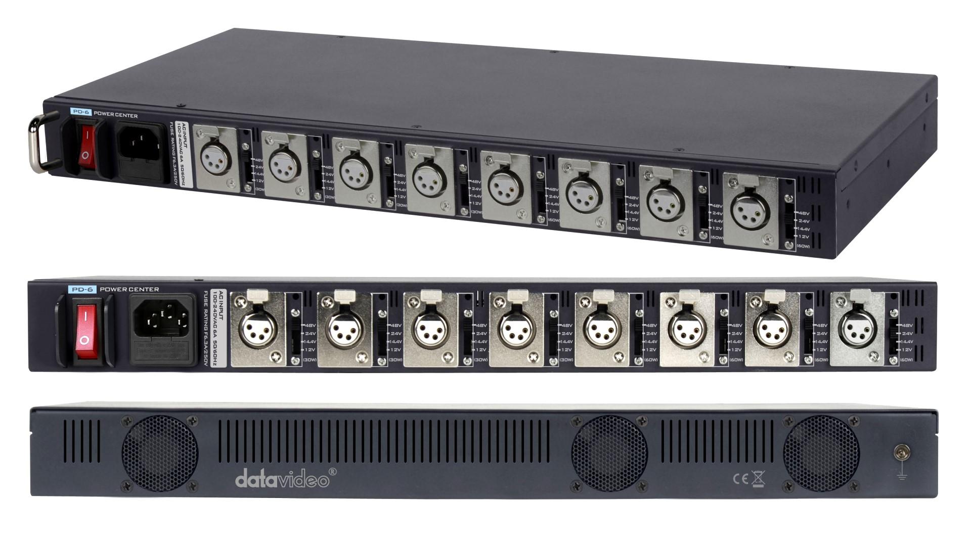 Foto datavideo Universal Stromversorgung PD-6 für 12-48 Volt XLR Rack-Geräte