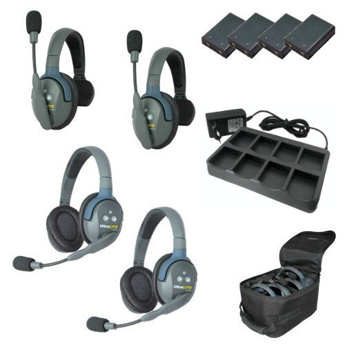 Artikelfoto EARTEC Wireless Intercom UltraLITE HD Mix für 4 Personen HeadSets UL422-HD