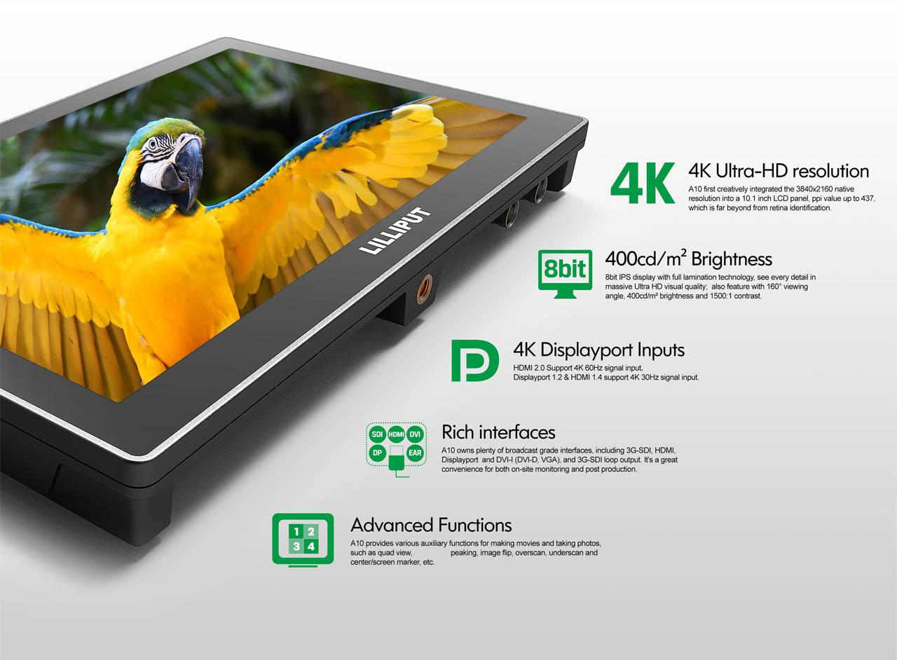 Artikelfoto Lilliput 10.1 Zoll 4K Monitor HDMI DVI DP SDI Modell A10