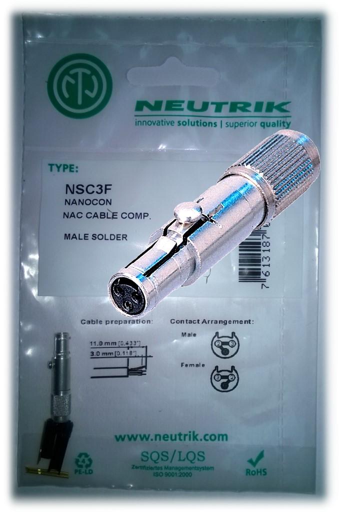 Foto Stecker Neutrik NSC3F NanoCon zum löten