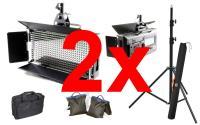 Artikelfoto 11 FineVideo LED Flächenleuchte 5400K LED500AVL LCD Touch dimmbar 2er SET mit Stativ und Taschen