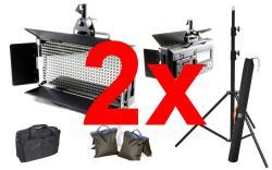 FineVideo LED Flächenleuchte 5400K LED500AVL LCD Touch dimmbar 2er SET mit Stativ und Taschen