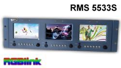 RGBLink RMS 5533S LCD Rack Monitor 3 x 5 Zoll HD Sondermodell