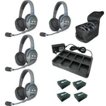 EARTEC Wireless Intercom UltraLITE HD Double für 4 Personen HeadSets UL4D-HD