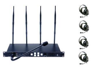 Wireless Intercom System-Set 4-Kanal inklusive 4 HeadSets