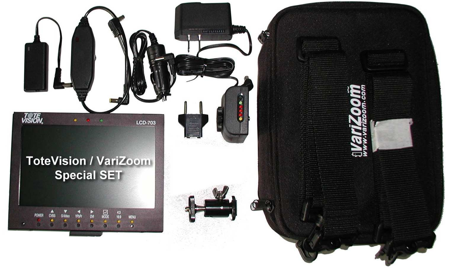 Artikelfoto 1 ToteVision LCD-703 HD Set Monitor mit Akkusystem und Tasche