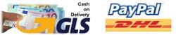 Versandoptionen GLS, DHL, PAYPAL